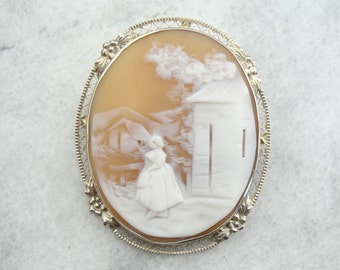Timeless Landscape with Figure Cameo Brooch from the Victorian Era H9KTRD-N