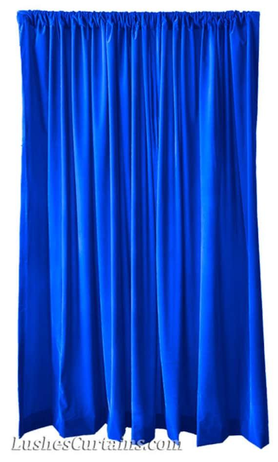 Modern Royal Blue Flocked Velvet Curtain 84 Inch High Long