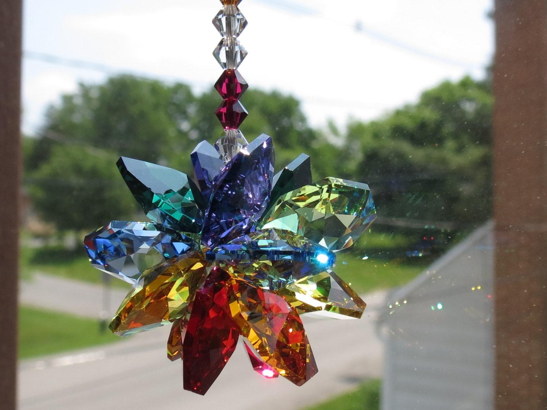 Sputnik christmas ornaments - Swarovski Crystal Suncatcher Chakra Suncatcher Multi Colors Starburst Crystal Suncatcher Ornament Keira S