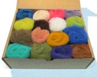 Needle felting wool palette kit, 3 oz,color: Mix of 20-25 colors minimum.