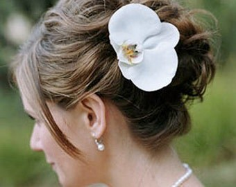 Perfect Silk Natural Touch Orchid Flower in your Color - Hair Wedding Headpiece - Hair Clip
