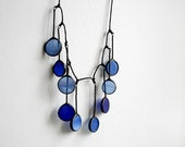 Blue statement necklace, Modern necklace, Stained Glass Jewelry, Royal blue, Wedding gift