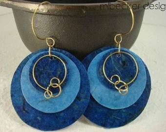 Dark and Light Blue Banana Paper Earrings