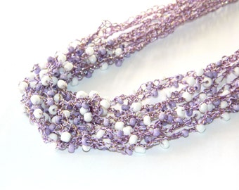 Purple Crochet necklace Beaded jewelry Boho chic Gypsy Statement necklace Air bead multistrand crocheted nursing jewelry sister gift mom