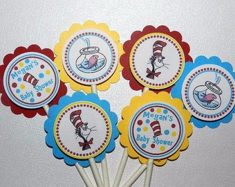 DR SEUSS Baby Shower Cupcake Toppers