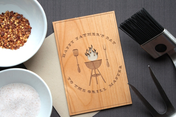 Wood Father's Day Card with Grill and Utensils - Grilling Gifts - Dad Grill Master