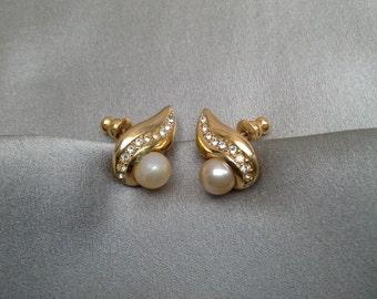 Pearl and Cubic Zirconia Earrings Vintage Jewelry Vintage Earring