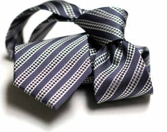 Tie (3 inch) in Stripes with Grey, White, Black