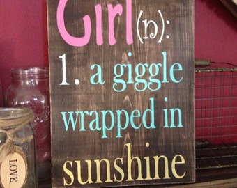 Definition of a girl custom wood sign