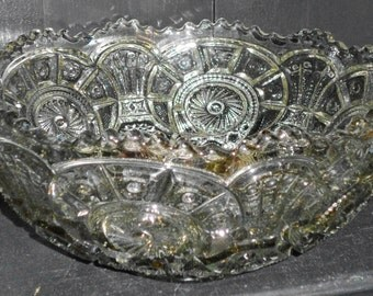 Vintage Pressed Glass Pinwheel Hobstar Pattern Center Piece Bowl 12x5in