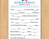 DIY Printable Wedding Mad Libs Love Birds Guestbook - Colors Customizable