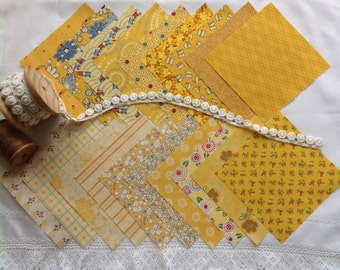 """Charm squares in sunny yellow, 20 x 5""""."""