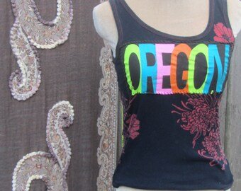 "Small Patched Tank Top "" Coastal Culture "" Navy Ribbed Tank with Flower detail and Hand Sewn Oregon Patch"