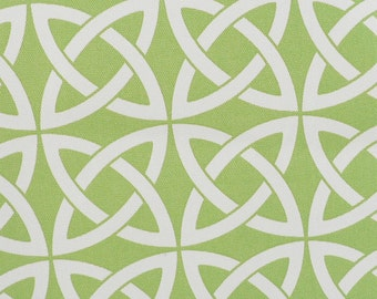 Indoor/Outdoor Umbrella Fabric, Lime Chartreuse Green/White Spheres/Links  Fabric,