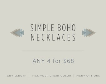 Any 4 Simple Boho Necklaces // Simple Pendant Necklace // Boho Layered Chains // Personalize it DIY // Long or Short Options