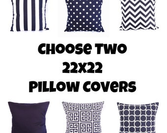Navy Throw Pillow Cover Geometric Greek Key Polka Dot Chervron Stripes Solid Decorative 22x22 Indigo White Nautical Zipper