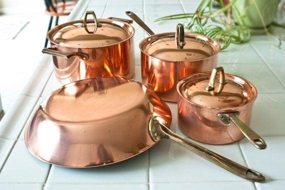Vintage Paul Revere Copper Pan Set 1801 Signature Series 7