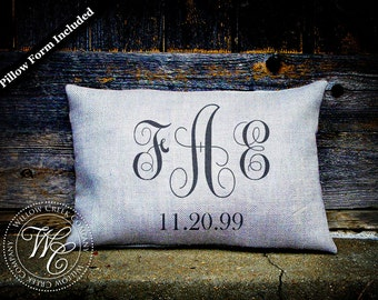 wedding date pillow / personalized pillow / wedding gift / burlap pillow / personalized wedding pillow / establish pillow