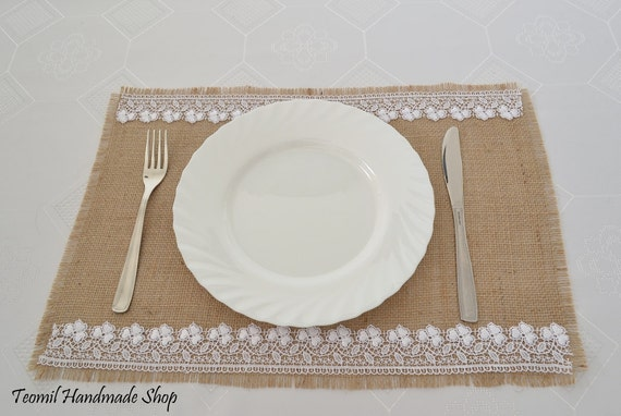 Wedding Table Settings Burlap Placemats For Rustic Wedding