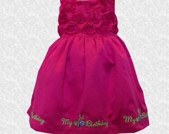 Adorable Fuschia color dress me up my First birthday dress