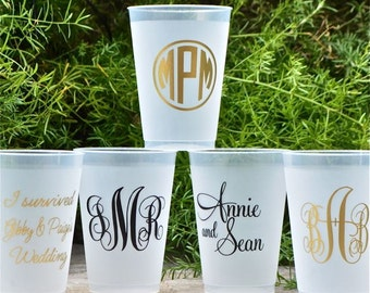 Frost-Flex Personalized Party Cups, Black & Gold Shatterproof Custom Cups, Personalized Monogrammed Cup, Frosted Plastic Wedding Cups