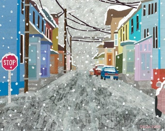 A Town In Winter (Art Print)