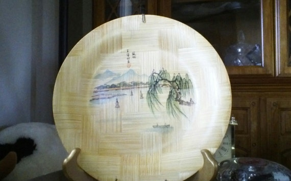 Vintage Bamboo Painted Plate Beautiful China CAAC Collectable