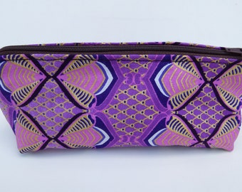 Beautiful African Fabric Make-up bag clutch purse in Lilac, Pink and gold