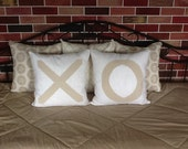 Set of two Decorative throw pillow covers inspired by Anthropologie.  Sentimentalist pillow, x pillow o pillow, hugs and kisses pillow