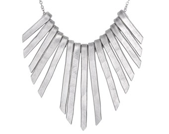 Silver Statement Necklace, Silver Bib Necklace Fringe, Fringe Bib Necklace, Silver Fringe Bib Necklace, Statement Necklace, Woman Gift
