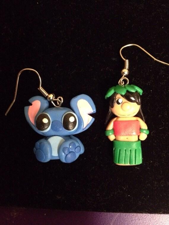 handmade polymer clay lilo and stitch dangle earrings