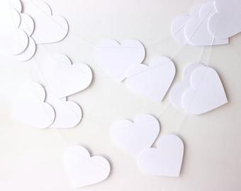 Wedding Garland, 3 Inch Hearts, White Heart Garland, Heart Banner, Photo Prop, Heart Garland, Paper Hearts Garland 10 ft, Bridal Shower