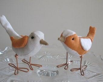 Bird Cake Topper Wedding Cake Topper Birds: Orange Sherbet and White Fabric Birds Cake Topper for weddings, Love Birds, Bird Pair