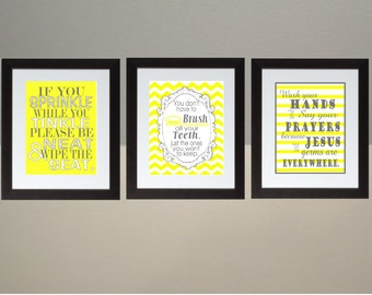 yellow and gray bathroom. Yellow Gray Chevron bathroom Wall Art Print Set Poster 8x10 Digital  Download Printable e gray Etsy