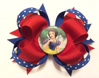 Loopy Snow White Bottlecap Bow