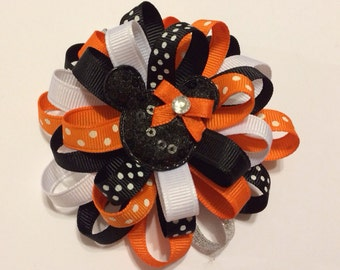 Halloween Loopy Minnie Mouse Hairbow - Halloween Hairbow - Orange Black and White Hairbow - Halloween Bows - Hairbows For Girls