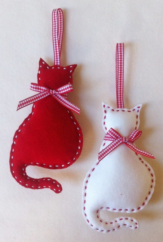 Diy Christmas Ornaments Etsy : Cat felt christmas ornament set of