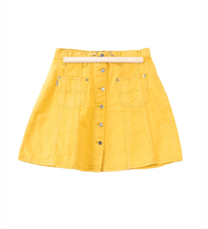 mini denim skirt yellow fashion button up bell shape