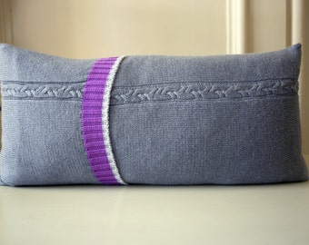 Pure wool cable knit cushion cover in grey and purple