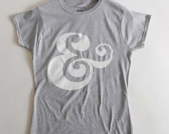The Ampersand Ladies, Girls,Grey T-shirt,Symbol T Shirt,Personalized T shirt,Artist Shirts,Typography,Lettering,Fonts Tee,Valentine's Gift