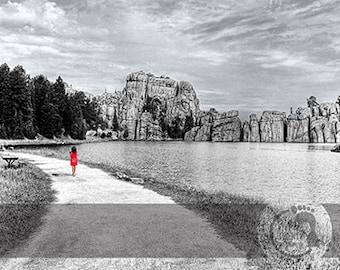 Walking Solitude Sylvan Lake South Dakota  Print