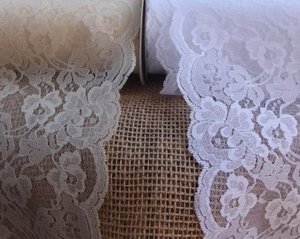 """Lace Ribbon, 5.5"""" Lace Roll 10 yards, White Lace, Ivory Lace, Wedding Lace, Lace Trimming, Floral Lace"""