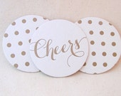 Letterpress Coasters, Cheers and Polka dots, Gold ink, Calligraphy font, Hostess Gift, Wedding Decor, Bridesmaid Gift, Party, Ready to Ship
