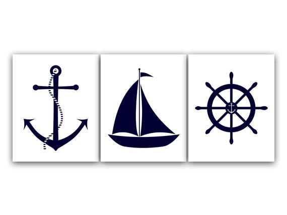 White nautical wall decor : Nautical nursery wall art instant download printable