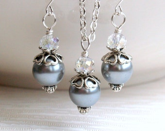 Silver Gray Bridesmaids Jewelry Set, Jewelry Set of Necklace And Earrings, Bridesmaids Jewelry, Wedding Party, Grey Flower girl gift