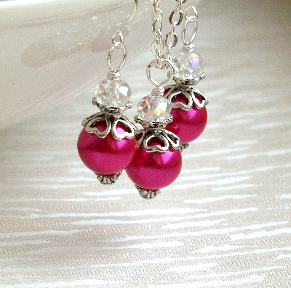 Hot pink bridesmaid jewelry set of four 4 set of 4 necklaces for Pink wedding jewelry sets