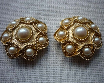Vintage Large Round Guy Laroche Paris Faux Pearl Gold Tone Clip On Earrings
