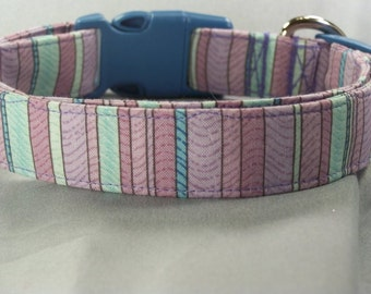 Blue and Purple Stripe Dog Collar