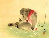 Japanese art, Monkey and Bee Ohara Koson (Shoson) FINE ART PRINT, monkeys paintings, woodblock prints, Japanese animals art prints, posters