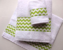 Lime Green Chevron Towels, hand towels, chevron, lime green, bathroom, towels, bath towels, bathroom, custom towels, towel rack, august ave